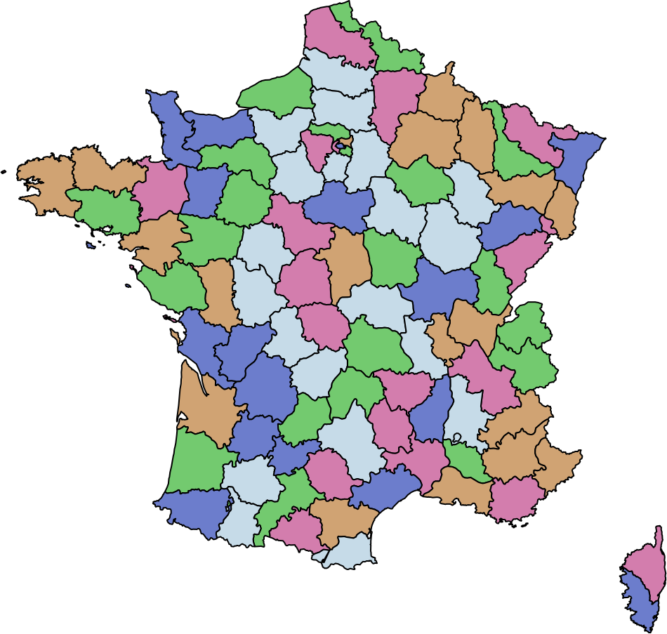 A map of France colored using a qualpalr palette.
